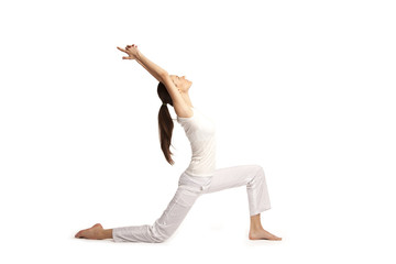 young beautiful yoga posing on a studio background22