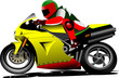 Motorcycle with biker on the road. Vector illustration
