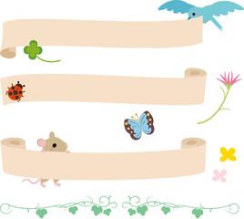 小鳥や小動物のタイトル素材