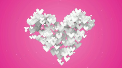 White Love Shape Particles pink background