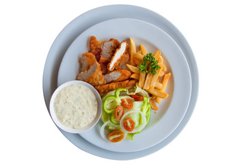 Chicken strips and fries combo on white background