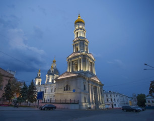 Assumption Cathedral at night, Kharkiv.