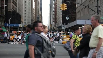 New York city crossing traffic
