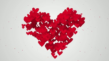 Red Love Shape Particles white background