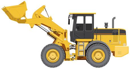 Big wheel loader. Illustration in vector format
