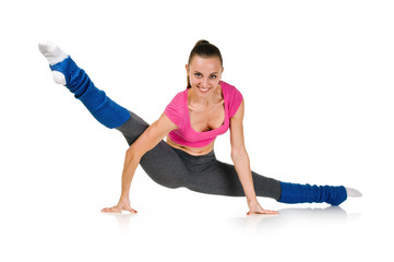 Fit healthy woman stretching