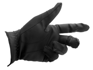 Black golf glove hand shape isolated on white with clipping path