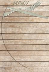 menu sur fond bois