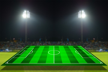simulation of football field with stadium background
