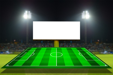football field and scoreboard with stadium background