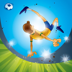 Brazil soccer player performing bicycle kick.