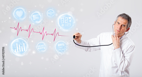 Doctor examinating modern heartbeat graphics