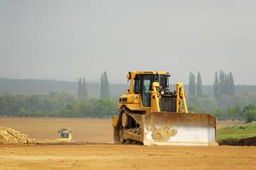 Planierraupe auf der Baustelle
