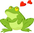 Frog cartoon in love