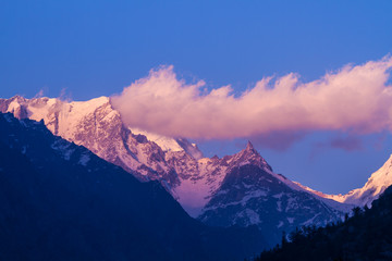 Sunset on a Himalayan mountain range in Uttarkhand India.