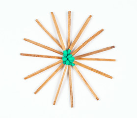 Round Pile of Green Matchsticks