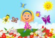 Happy little girl running on flower field