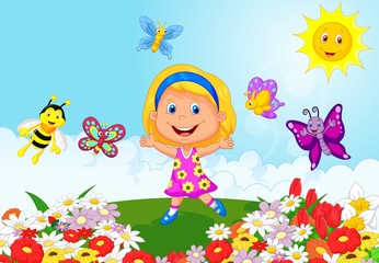 Happy little girl running on flower field