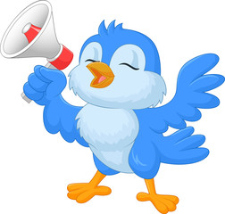 Cartoon bluebird with megaphone