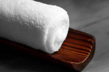 White towel on bamboo stalk