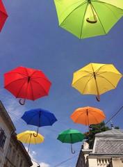 Hanging umbrellas in the sky