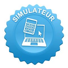 simulateur sur bouton web denté bleu