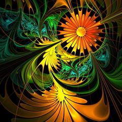 Flower background. Orange and green palette. Fractal design. Com