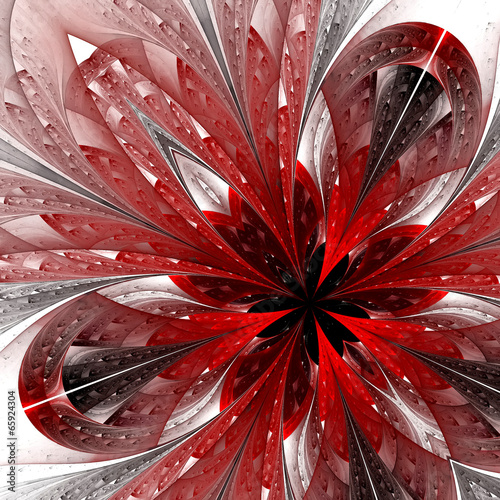 Beautiful fractal in red. Computer generated graphics.