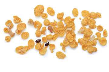 cornflakes, cereal on white background