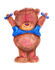 Teddy bear with blue dumbbells