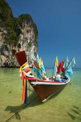thai boat and mountain in thailand