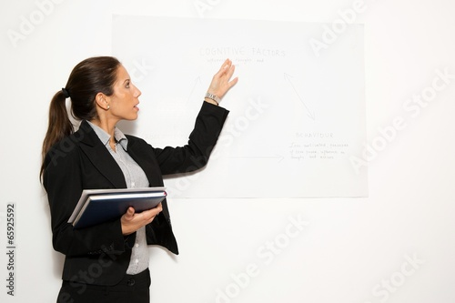 Business dressed woman, holding presentation.