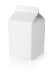 Blank milk carton package isolated on white with clipping path