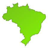 Brazil country map icon poster