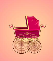 ретро коляска для девочки