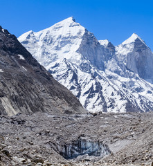 The source of the Ganges with the Bhagirati peaks in the back.