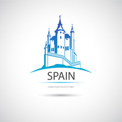 Label with the image of Spanish castle. Vector