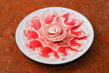 Raw pork sliced