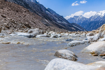 The Ganges river flowing down the Gangotri valley in India.