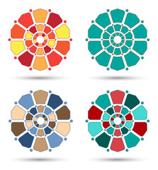 Four flowery mandala isolated