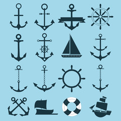 marine vector set icons