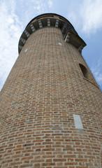 Brick wall tower of Burano, Venice, Italy