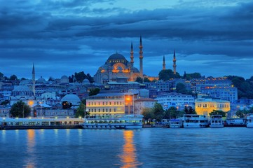 Suleymaniye Mosque in blue evening near the golden horse