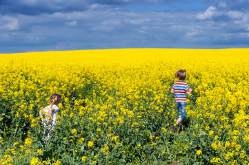 Zwei Kinder spielen in einem Rapsfeld
