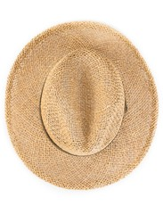 Top of view of vintage summer straw hat isolated