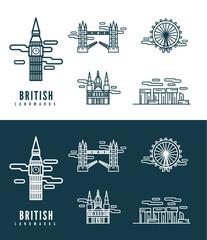 British Landmarks. flat design element. vector