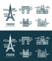 France Landmarks. flat design element. vector