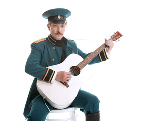 Military playing guitar