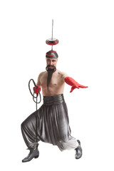 Man in a costume with a whip