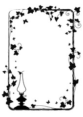 ivy frame with  kerosene lamp